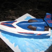 "Speed Boat   Made for my son""s b-day. He is on a RC boat kick so of course that's what he wanted the cake to be!"