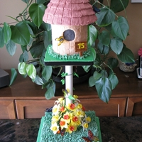 Bird House Cake  I made this cake for my mother in-law's 75th Birthday. The flowers are gumpaste daffodils made in honour of her Welsh heritage. The...