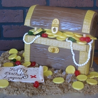 Treasure Box Cake This was a red velvet cake with cream cheese filling and iced in white chocolate ganache. The lid is styrofoam and the gold coins are white...