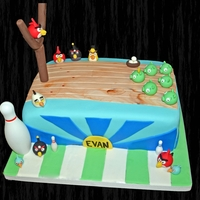 Angry Birds Bowling Cake Angry Birds cake I made for my son's birthday party!