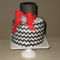 Silver And Black Chevron Cake Silver and black Chevron cake