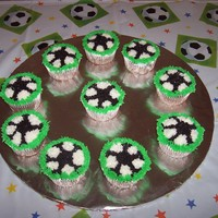 Soccer Cupcakes I made these soccer ball cupcakes for my daughters soccer party. All bc icing.