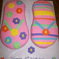 Flip Flop Cake I made a flip flop cake for my cousins daughters 8th Birthday. It was done all in mm fondant.