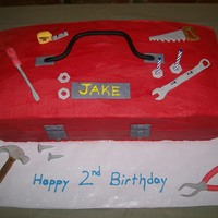Tool Box My son loves tools, so for his 2nd Birthday I made him a tool box cake . It's bc icing with mm fondant tools.