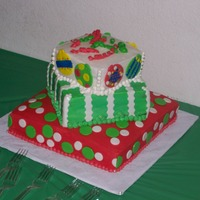 Christmas Gifts I made this Christmas Gifts cake for my Aunte for their holiday company party.. It's bc icing with mm fondant pieces.