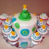 Froggie Prince Smash cake and cupcakes for a frog prince themed first birthday party. WASC cake with vanlla bc filling. Cupcakes were Strawberry Daiquiri...