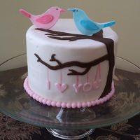 Lovebirds Love birds anniversary cake for my DH. This was only the second time I've attempted to cover a cake in fondant, so please excuse the...