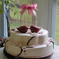 Cherry Blossom Bridal Shower Cake I made this cake for my nieces bridal shower the fondant birds and the bird cage were copied from her wedding invitation. Its not perfect I...