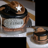 Grandpa Sheriff Cake This cake is for my father-in-law's birthday. He's a western movie fan. The cake is vanilla with a mocha cream filling covered in...
