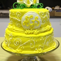 2 Tier Buttercream   My first - 3 layers each, 2 tier buttercream with fondant flowers and monogram