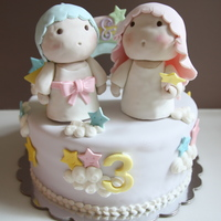 Little Twin Stars Cake Vanilla butter cake with smbc and fresh strawberries. Figures from RKT with other decorations in gp or fondant.