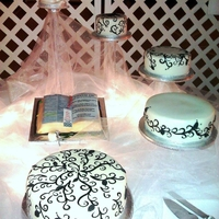 Black And White Hand Stenciled Wedding Cake