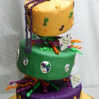 "Mardi Gras Bridge Party 10"" Butter Pecan w/Praline Filling ""Praline Ave"", 8"" Chocolate Kahlua ""Bourbon Street"", 6"" WASC. I had..."