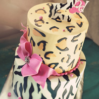 Wild And Girly 2Nd Birthday Cake Buttercream with fondant accents! Made for a cute safari theme.