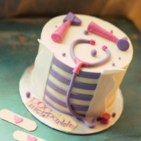 Doctor Mcstuffins Birthday Cake! All edible, a cute birthday cake for a wonderful little girl! Also included some edible bandaid toppers to match.