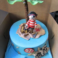 Pirate Birthday Cake! All edible! Strawberry cake with strawberry filling.