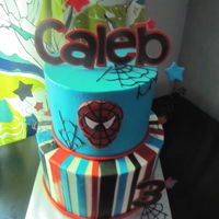 Spiderman Birthday Cake! Red vevlet and cookies and cream cake with vanilla buttercream!