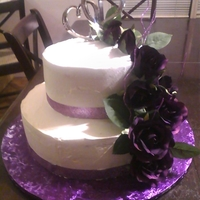 Purple And White 2 Tier Wedding Cake