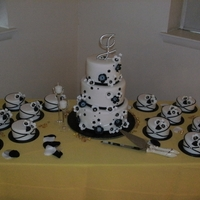 Black And White Wedding Cake W/100 Mini Cakes I love this cake after I was done, doing 100 mini wedding cakes takes a true toll on your sanity....lol. But worth it!!!