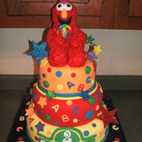 Sesame Street Elmo Birthday Bash This is not my design, my client brought me a photo of this cake she loved. All fondant, elmo modeled out of rice treats and piped in...