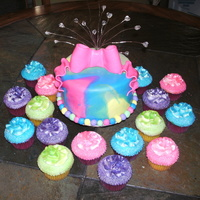 """make It Colorful"" Birthday Cake   Client gave me colors that she wanted incorporated in her cake with 100 cupcakes and this is what I came up with....TLF!"