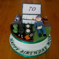 70Th Birthday Allotment Garden Cake Critique Subgroup Member: 70th birthday cake for an allotment gardener with removable keepsake topper.The topper ended up a bit bigger than...