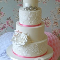 Pink Lace & Roses Wedding Cake
