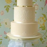 Peach Mr & Mrs Wedding Cake