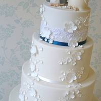 Birds & Blossoms Wedding Cake