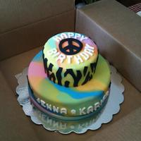Tie Dye Peace Sign Cake   mmf over buttercream frosting