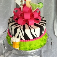 21St Birthday   My friend's daughter wanted a cake that incorporated different kinds of drinks, zebra print and bright colors.