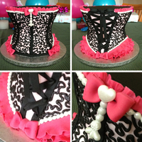 "Pink And Black Bachelorette Party Cake for a bachelorette party. Used 7"", 6"" and 5"" layers."
