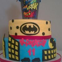 Batman Girly Cake *My niece loves batman and I wanted to make it somewhat girly.