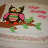 Owl Cake   I made this cake for my daughters birthday. The cake is iced in BC, with fondant decorations.