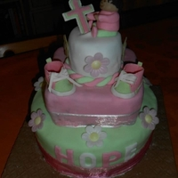 Baptism Cake for my daughter's baptism, first time I tried the baby shoes