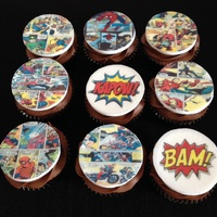 Comic Themed Cupcakes Chocolate cupcakes with edible toppers made for my nephews birthday.