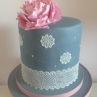 Anniversary Cake With Gumpaste Peony And Edible Lace Anniversary cake with gumpaste peony and edible lace
