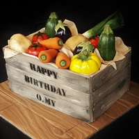 Realistic Vegetable Crate Cake Made this cake for O.My restaurant's (Beaconsfield VIC, Australia) first anniversary. Was super happy with how this turned out. It was...