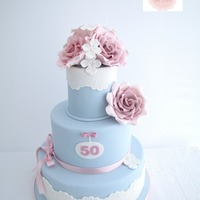 Duck Egg Blue Vintage Cake Loved creating this vintage cake