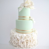 Mint Elegance Wedding Cake I loved creating this Wedding Cake. Mint and gold with ruffles