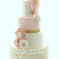 Blush And Gold Wedding Cake Blush, gold and ivory lustre