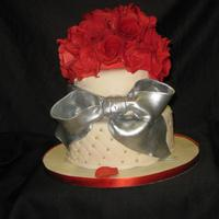 Wedding Cake With Red Sugar Roses