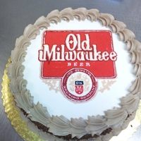 Old Milwaukee Beer Cake butter cream transfer