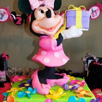 Minnie Mouse Cake  minnie mouse birthday cake. the minnie mouse had a support dowel with two boards attached to it. one at the skirt and one at the head/hands...