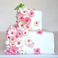 Spring Flowers And Butterfly   two tiered square cake with pink and white gumpaste flowers and a gelatin butterfly