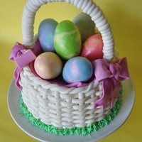 Easter Basket I wanted to make a white fondant basket, I have done lots of browns but never a white, Also wanted to do tie-dyed eggs. Thanks for looking...