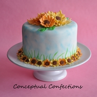 Summer Daisies Cake is hand painted, the daisies are gumpaste/fondant.