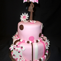 Pretty In Pink...and Brown This was a baby shower cake for a girl. Cake covered and all decorations done in fondant.