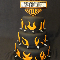 Harley  This was a wedding reception cake. The top and bottom layers are vanilla, and the middle is chocolate fudge. It is covered in fondant and...