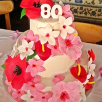 Hawaiian Birthday This was made for an 80th birthday for a lady who had been born in Hawaii! Cake is covered in buttercream icing and all flowers are made...